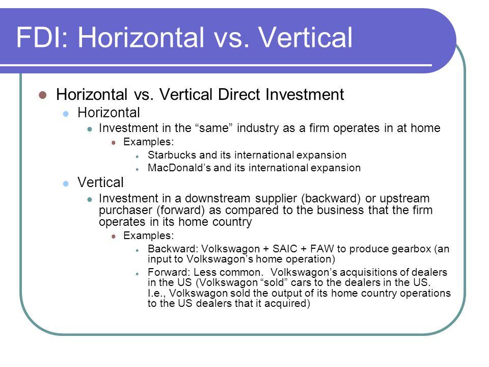 FDI: Horizontal vs.Vertical Horizontal vs.