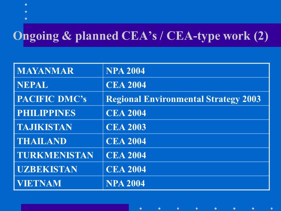 Ongoing & planned CEA's / CEA-type work (2) MAYANMARNPA 2004 NEPALCEA 2004 PACIFIC DMC'sRegional Environmental Strategy 2003 PHILIPPINESCEA 2004 TAJIKISTANCEA 2003 THAILANDCEA 2004 TURKMENISTANCEA 2004 UZBEKISTANCEA 2004 VIETNAMNPA 2004