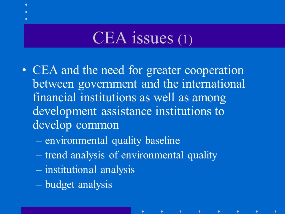 CEA issues (1) CEA and the need for greater cooperation between government and the international financial institutions as well as among development assistance institutions to develop common –environmental quality baseline –trend analysis of environmental quality –institutional analysis –budget analysis