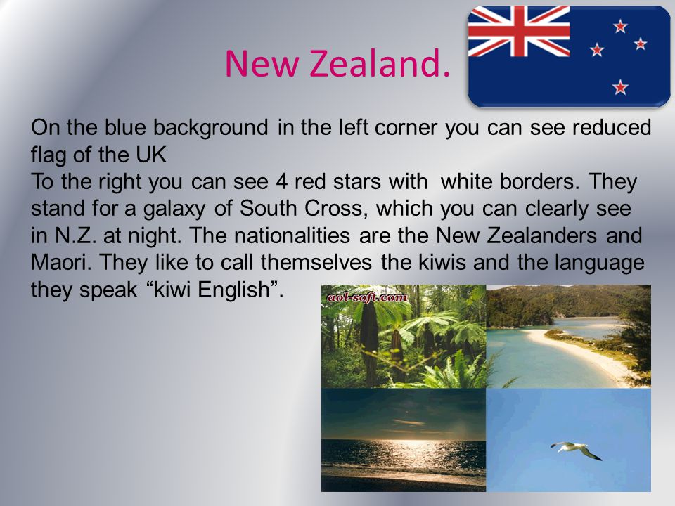 New Zealand. On the blue background in the left corner you can see reduced flag of the UK To the right you can see 4 red stars with white borders. The