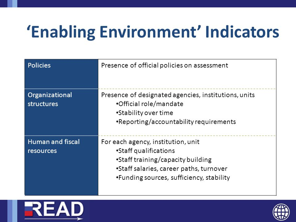 'Enabling Environment' Indicators PoliciesPresence of official policies on assessment Organizational structures Presence of designated agencies, institutions, units Official role/mandate Stability over time Reporting/accountability requirements Human and fiscal resources For each agency, institution, unit Staff qualifications Staff training/capacity building Staff salaries, career paths, turnover Funding sources, sufficiency, stability