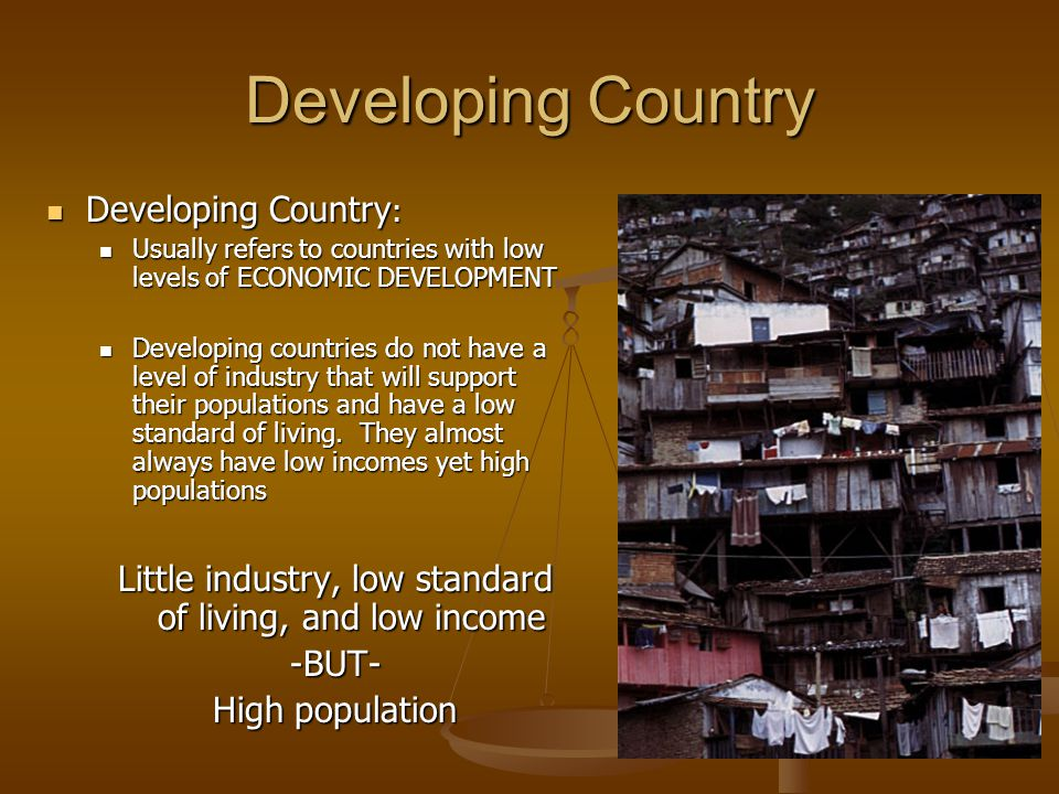 Developing Country Developing Country : Developing Country : Usually refers to countries with low levels of ECONOMIC DEVELOPMENT Usually refers to countries with low levels of ECONOMIC DEVELOPMENT Developing countries do not have a level of industry that will support their populations and have a low standard of living.