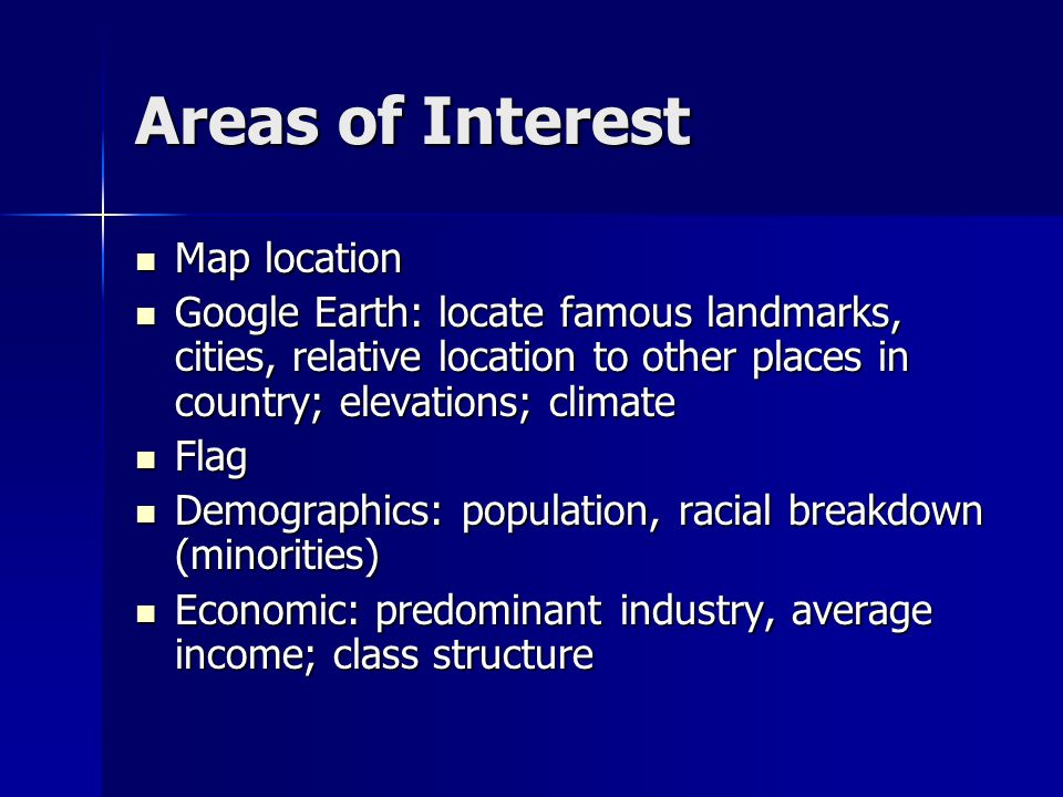 Areas of Interest Map location Map location Google Earth: locate famous landmarks, cities, relative location to other places in country; elevations; c