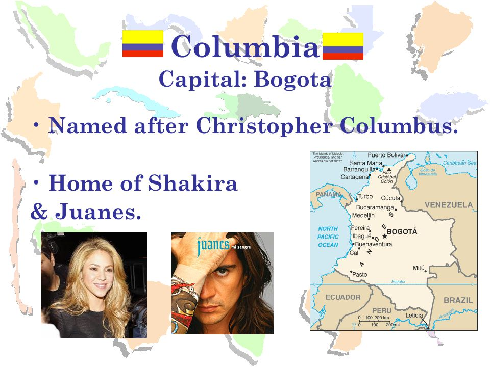 Ecuador Capital: Quito Name means Equator, which passes through the country Country of the Galapagos Islands.