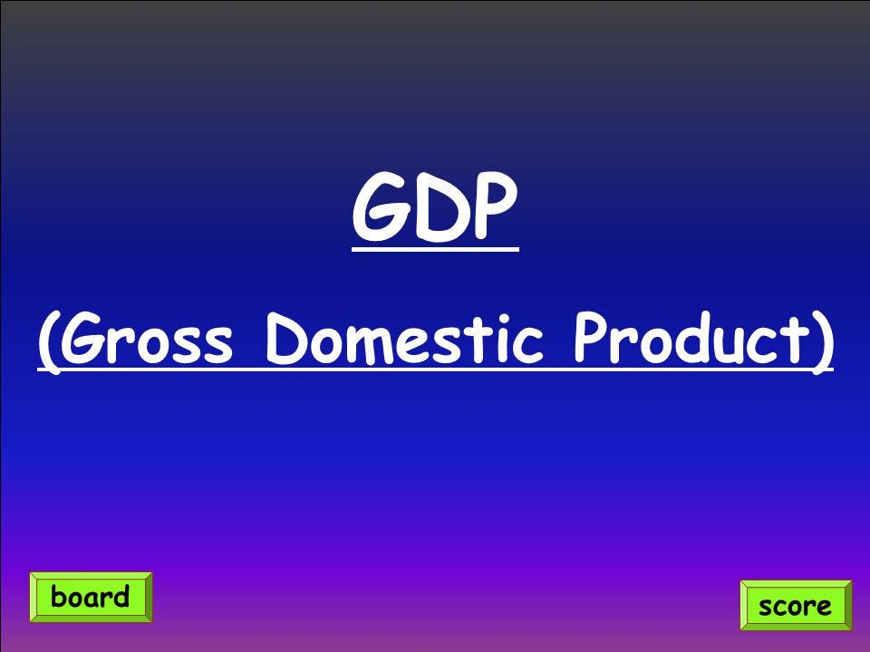 GDP (Gross Domestic Product) score board