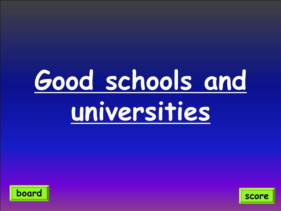 Good schools and universities score board