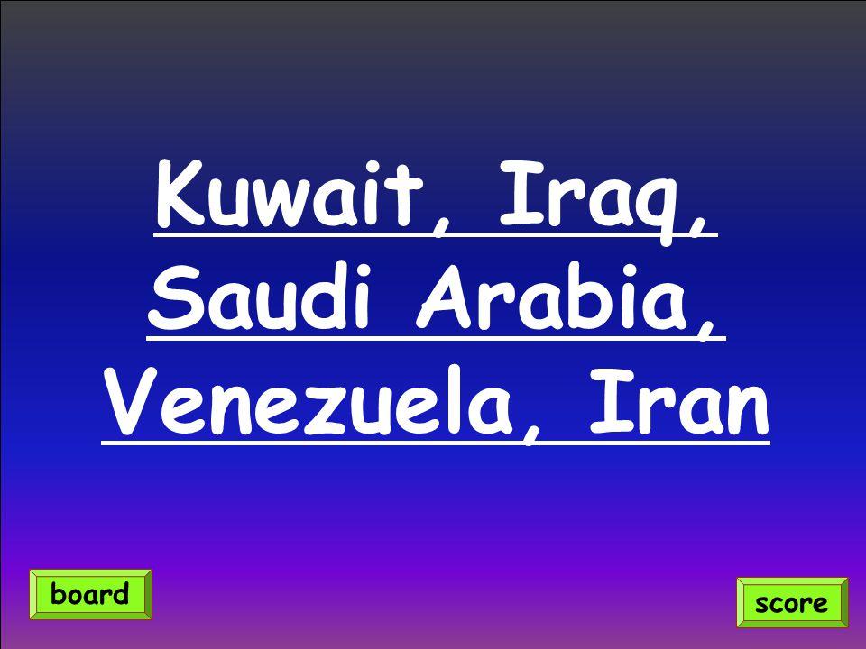 Kuwait, Iraq, Saudi Arabia, Venezuela, Iran score board
