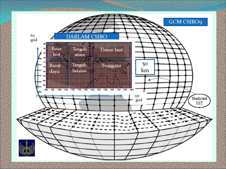 50 km GCM CSIRO9 DARLAM CSIRO Barat laut Barat daya Tengah Selata n Timur laut Tenggara Tengah utara 130 grid 60 grid