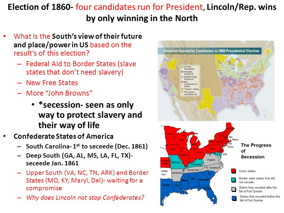 Election of 1860- four candidates run for President, Lincoln/Rep. wins by only winning in the North What is the South's view of their future and place