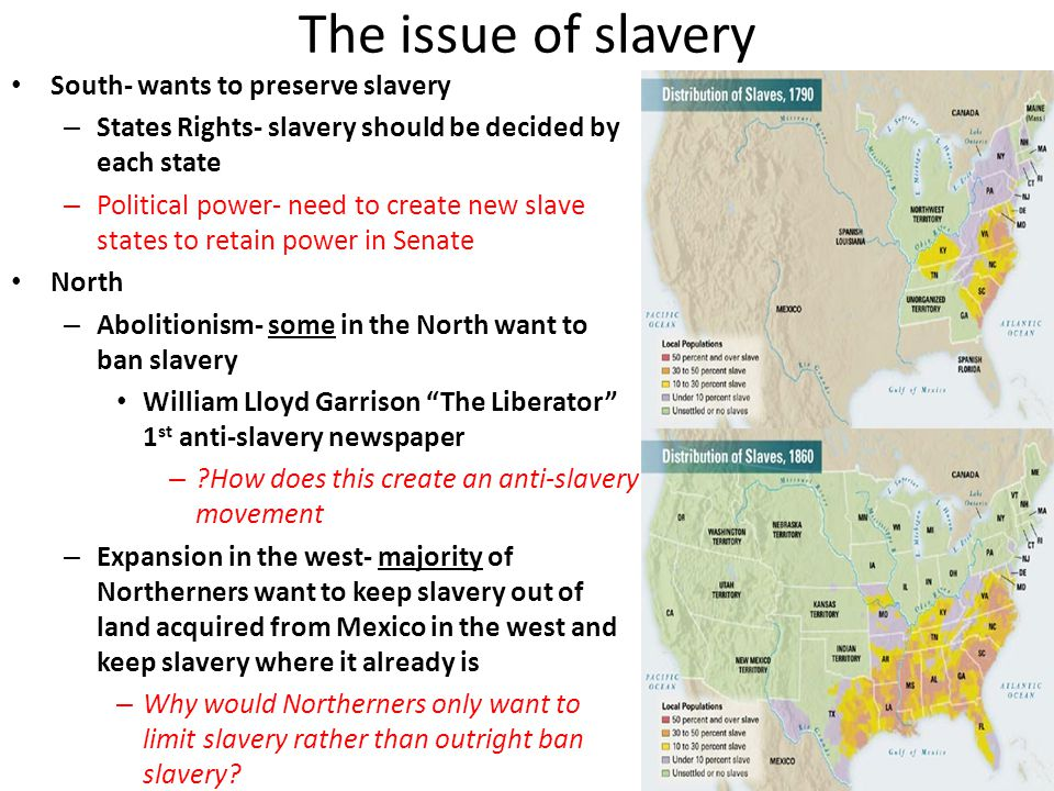 The issue of slavery South- wants to preserve slavery – States Rights- slavery should be decided by each state – Political power- need to create new s