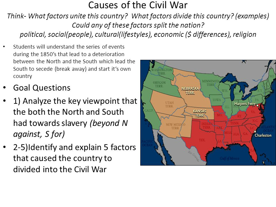 Causes of the Civil War Think- What factors unite this country? What factors divide this country? (examples) Could any of these factors split the nati