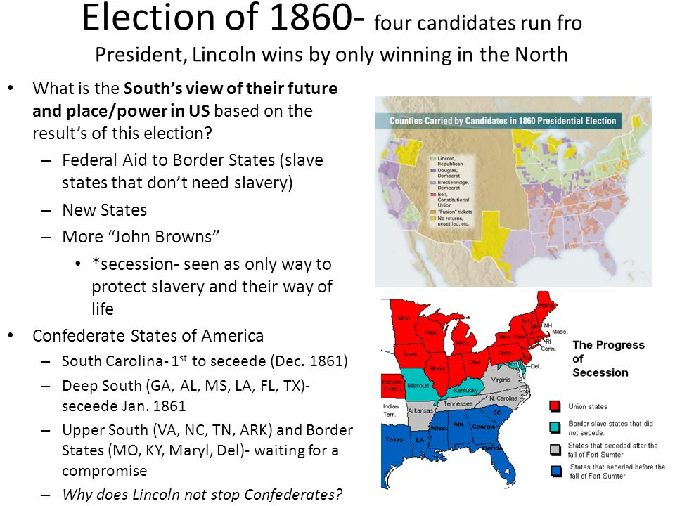 Election of 1860- four candidates run fro President, Lincoln wins by only winning in the North What is the South's view of their future and place/powe