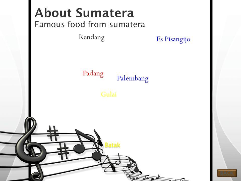 About Sumatera Famous food from sumatera Batak Gulai Rendang Padang Es Pisangijo Palembang BACK