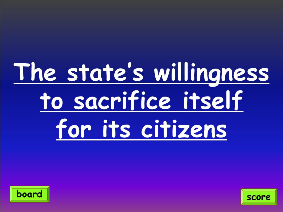 The state's willingness to sacrifice itself for its citizens score board