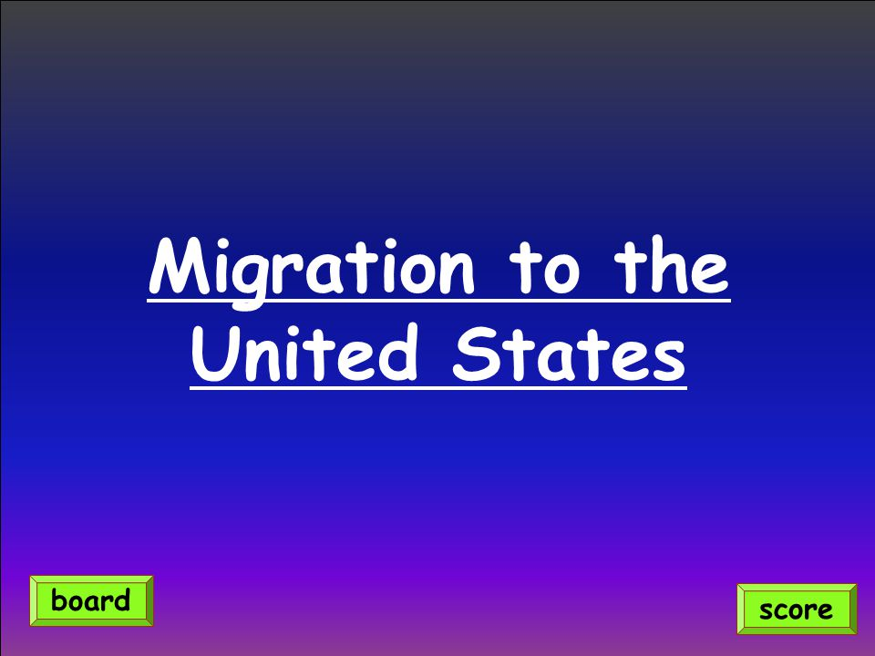 Migration to the United States score board
