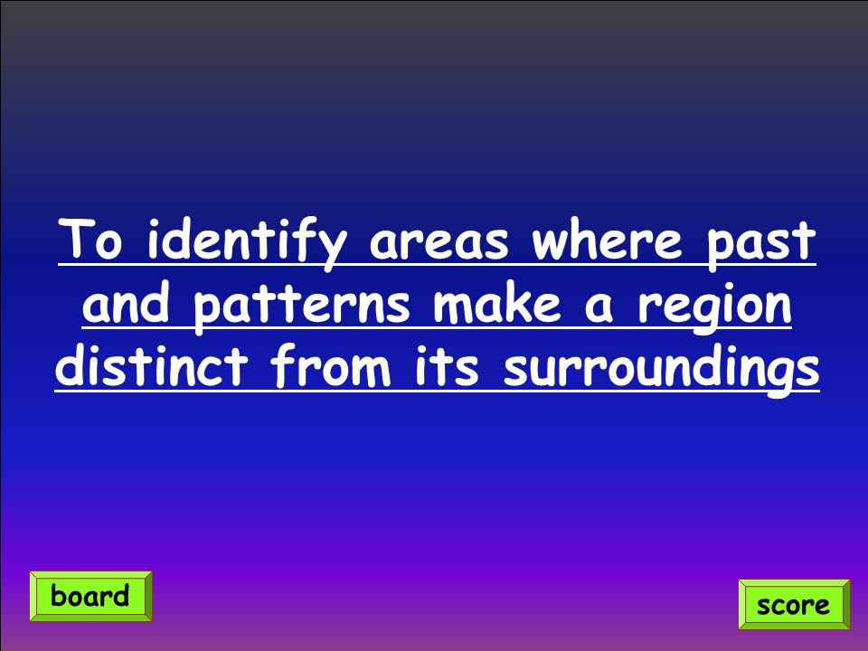 To identify areas where past and patterns make a region distinct from its surroundings score board