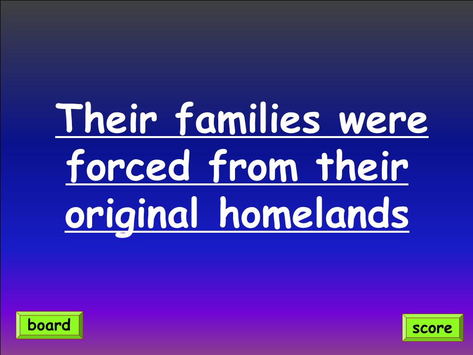 Their families were forced from their original homelands score board