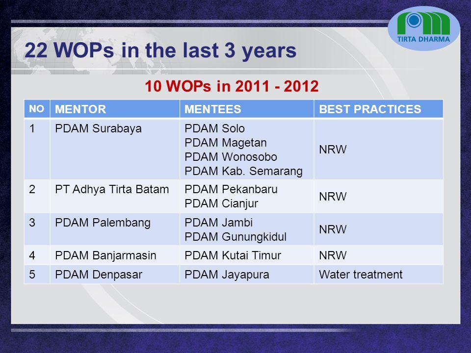 LOGO 22 WOPs in the last 3 years NO MENTORMENTEESBEST PRACTICES 1PDAM SurabayaPDAM Solo PDAM Magetan PDAM Wonosobo PDAM Kab. Semarang NRW 2PT Adhya Ti