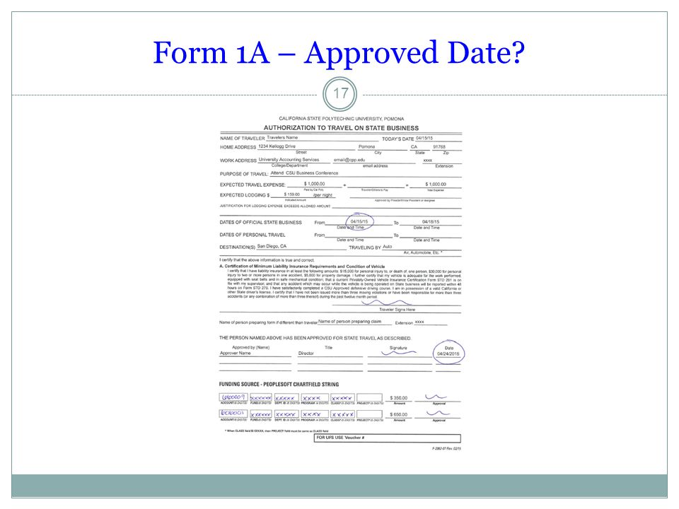 Form 1A – Approved Date? 17