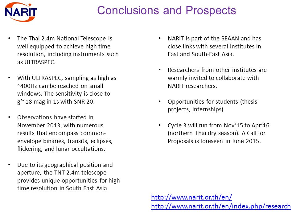Conclusions and Prospects The Thai 2.4m National Telescope is well equipped to achieve high time resolution, including instruments such as ULTRASPEC.