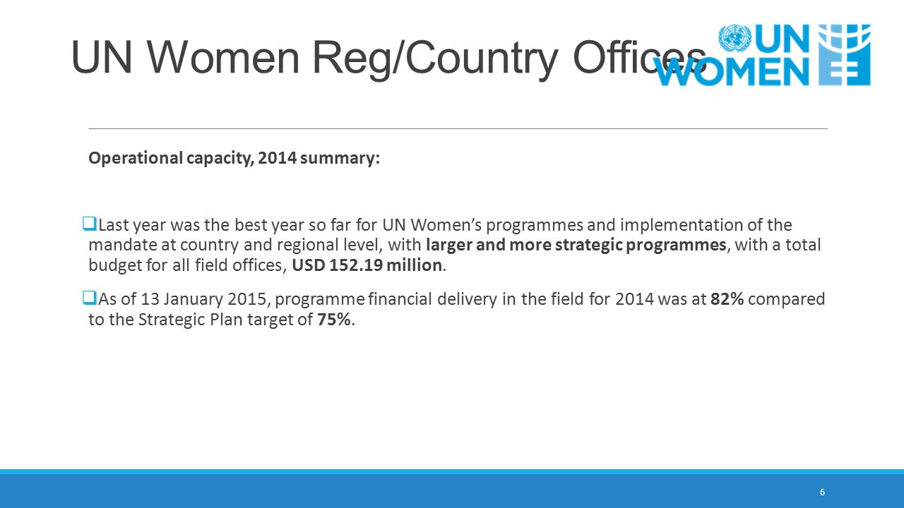 UN Women Reg/Country Offices Operational capacity, 2014 summary:  Last year was the best year so far for UN Women's programmes and implementation of the mandate at country and regional level, with larger and more strategic programmes, with a total budget for all field offices, USD 152.19 million.