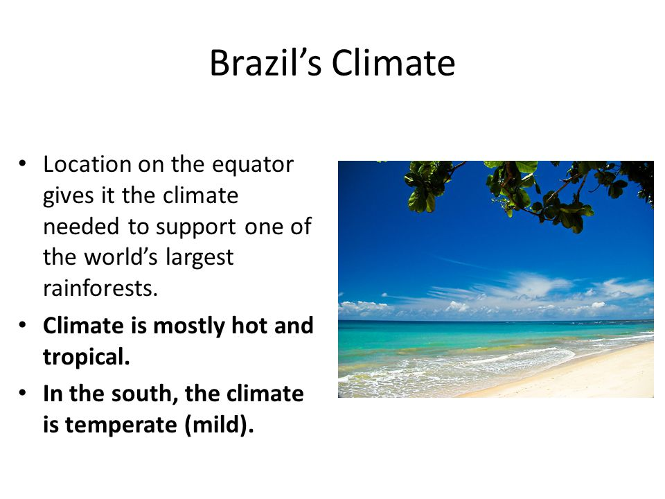 Brazil's Climate Location on the equator gives it the climate needed to support one of the world's largest rainforests. Climate is mostly hot and trop