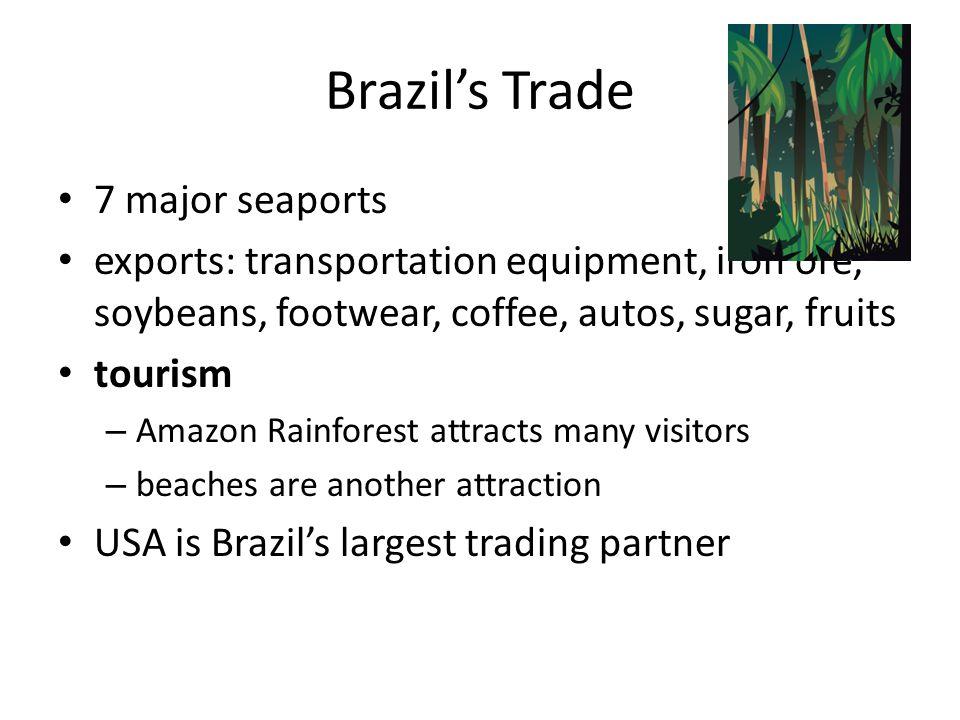 Brazil's Trade 7 major seaports exports: transportation equipment, iron ore, soybeans, footwear, coffee, autos, sugar, fruits tourism – Amazon Rainfor