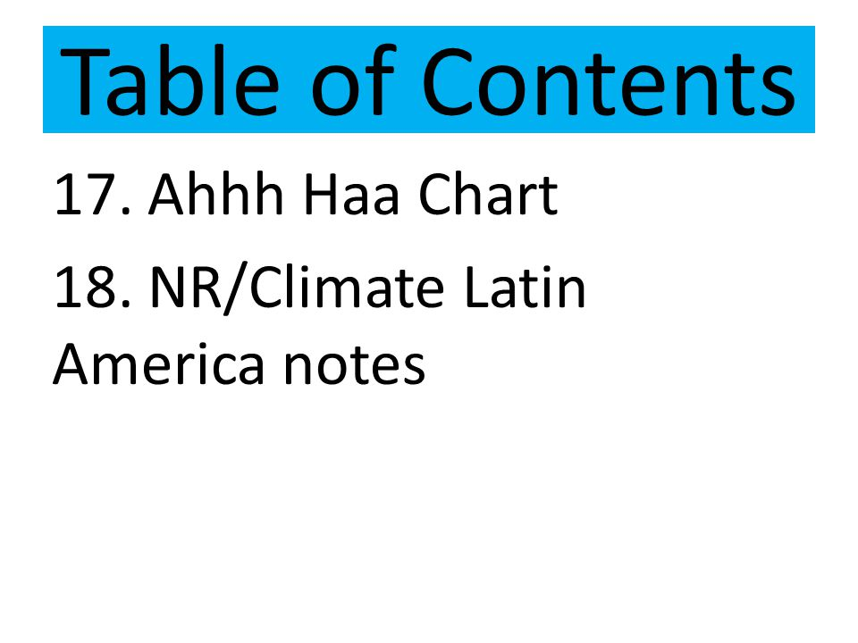 Table of Contents 17. Ahhh Haa Chart 18. NR/Climate Latin America notes