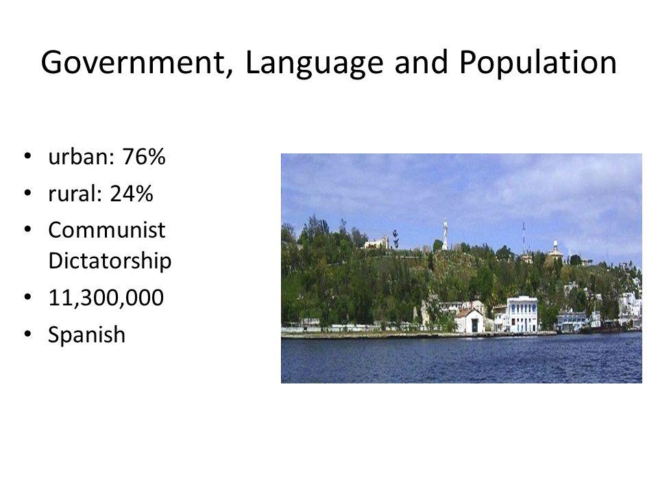 Government, Language and Population urban: 76% rural: 24% Communist Dictatorship 11,300,000 Spanish