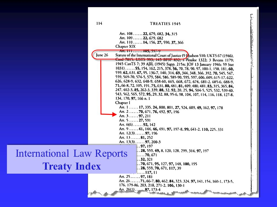 International Law Reports Treaty Index International Law Reports Treaty Index