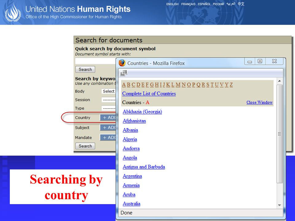 Searching by country