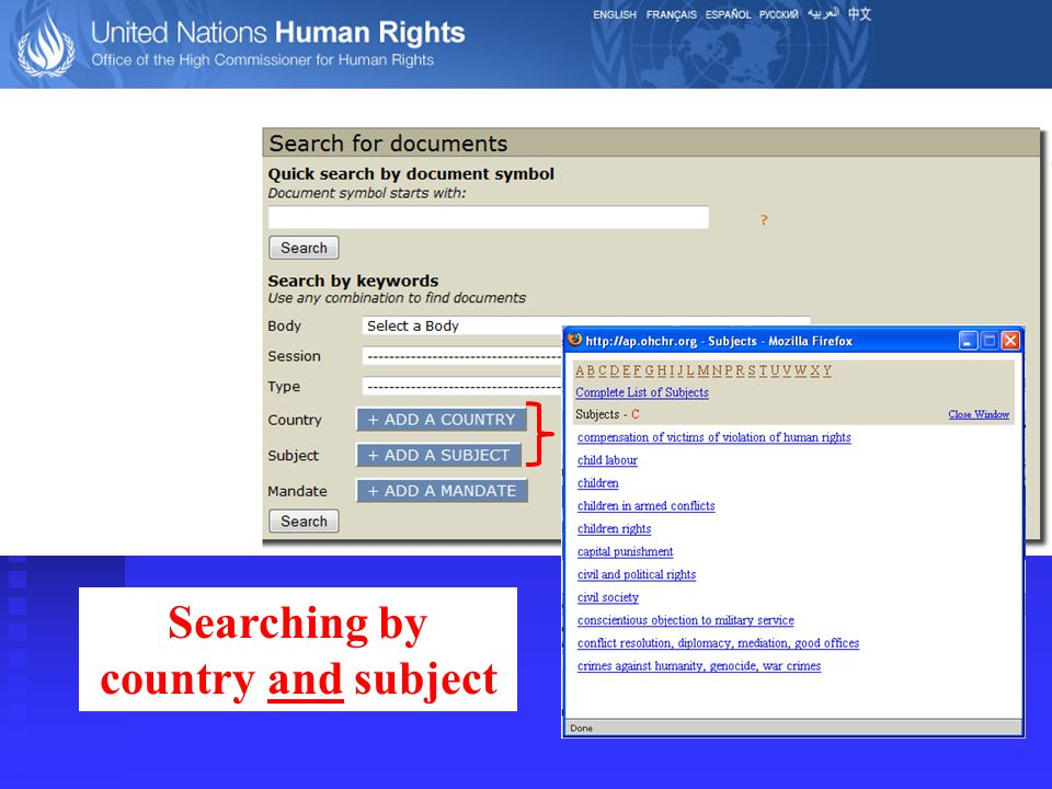 Searching by country and subject