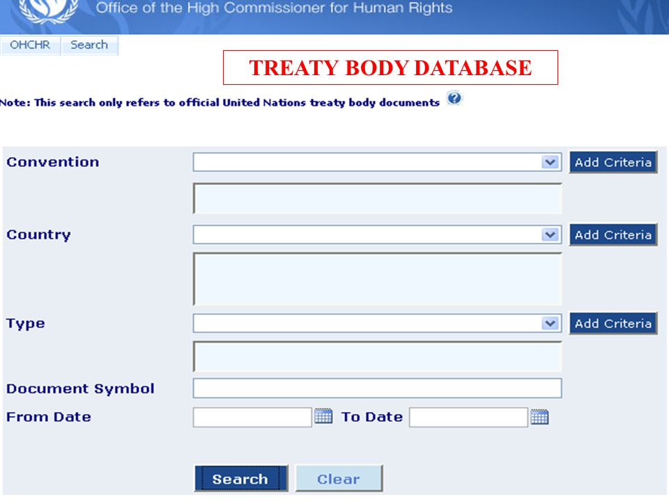 TREATY BODY DATABASE