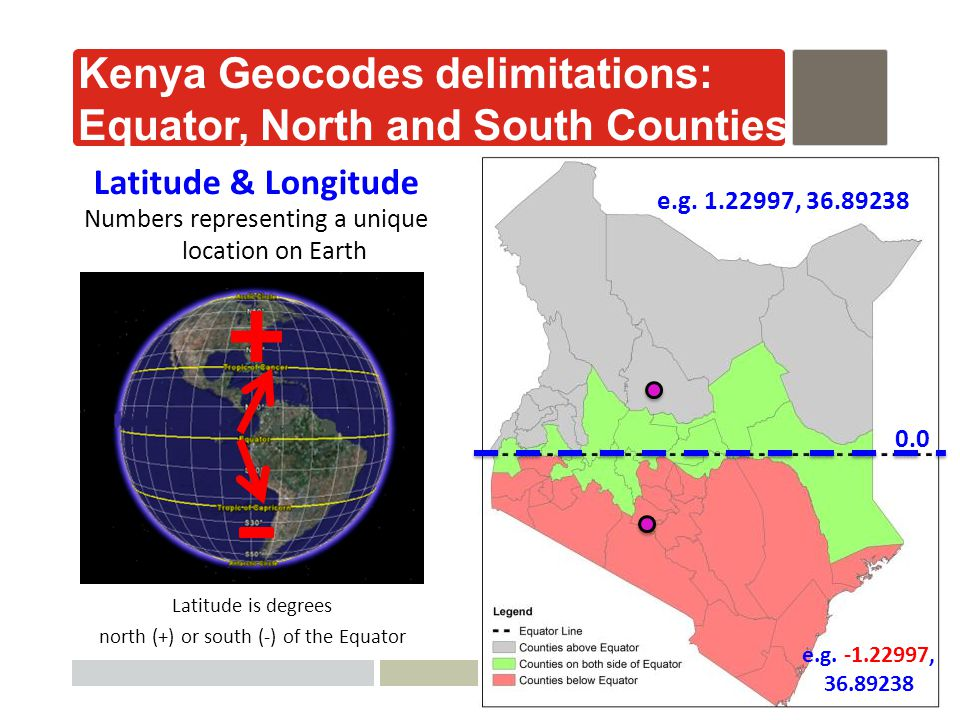 AfyaInfo| pg 25 Latitude is degrees north (+) or south (-) of the Equator Numbers representing a unique location on Earth Latitude & Longitude Kenya Geocodes delimitations: Equator, North and South Counties 0.0 e.g.