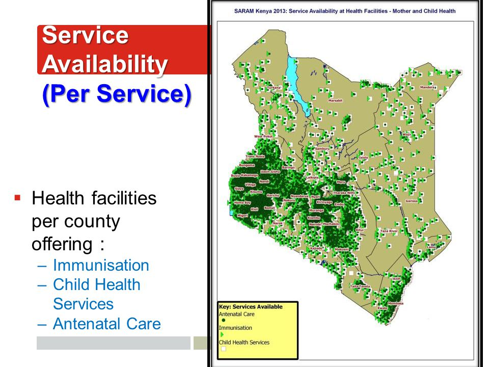 AfyaInfo| pg 41 Service Availability (Per Service)  Health facilities per county offering : –Immunisation –Child Health Services –Antenatal Care