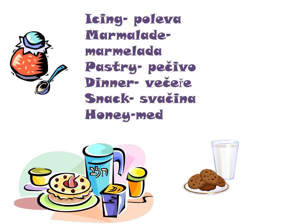 Icing- poleva Marmalade- marmelada Pastry- pečivo Dinner- veče ř e Snack- svačina Honey-med