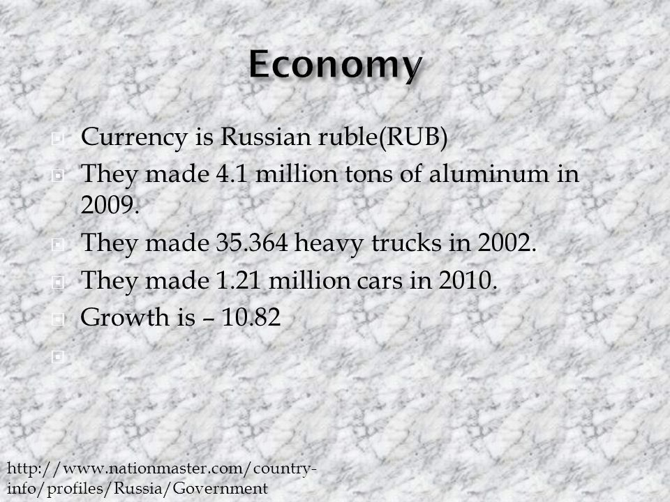  Currency is Russian ruble(RUB)  They made 4.1 million tons of aluminum in 2009.