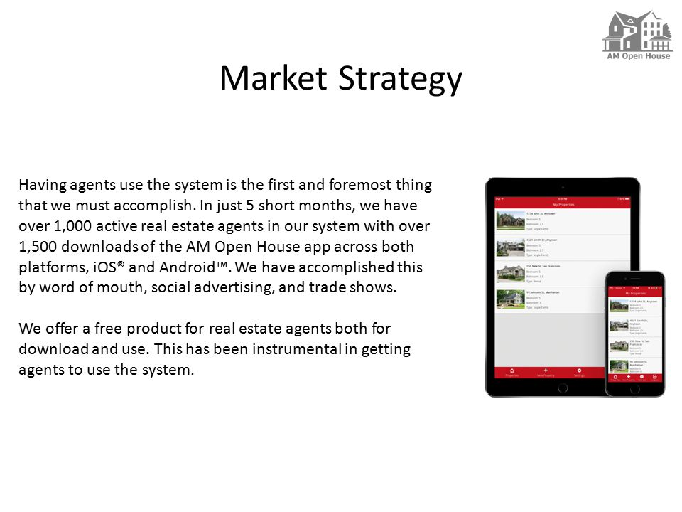 Market Strategy Having agents use the system is the first and foremost thing that we must accomplish.