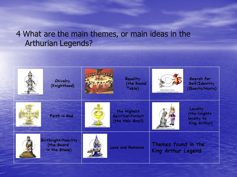 4 What are the main themes, or main ideas in the Arthurian Legends.