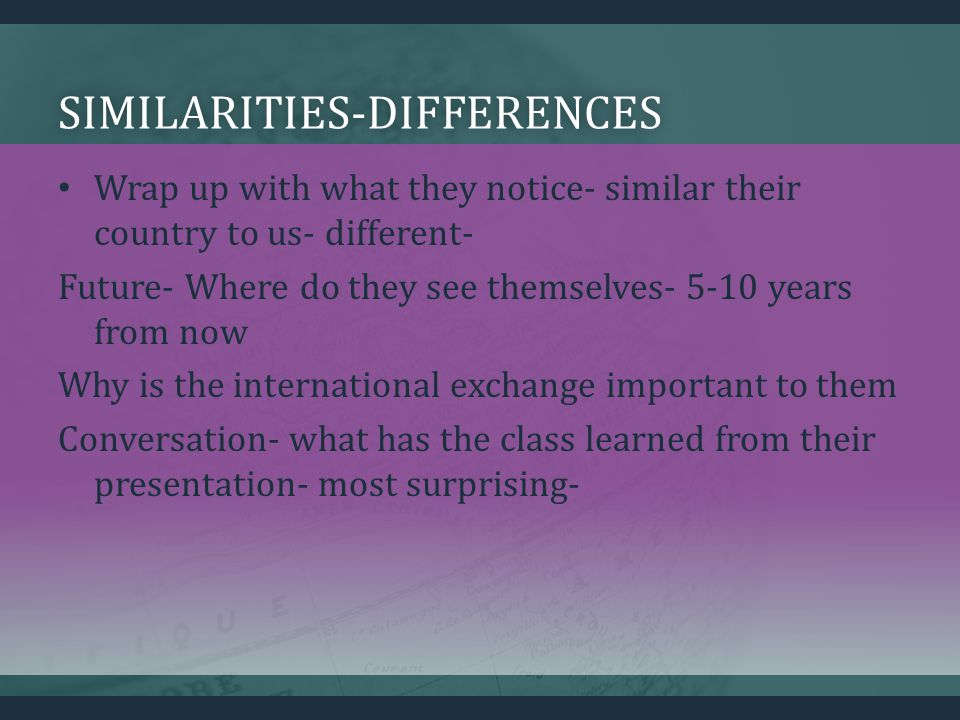 SIMILARITIES-DIFFERENCES Wrap up with what they notice- similar their country to us- different- Future- Where do they see themselves- 5-10 years from now Why is the international exchange important to them Conversation- what has the class learned from their presentation- most surprising-