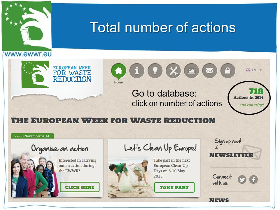 Total number of actions Go to database: click on number of actions