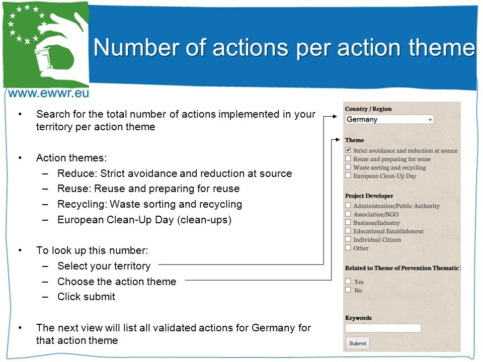 Search for the total number of actions implemented in your territory per action theme Action themes: –Reduce: Strict avoidance and reduction at source –Reuse: Reuse and preparing for reuse –Recycling: Waste sorting and recycling –European Clean-Up Day (clean-ups) To look up this number: –Select your territory –Choose the action theme –Click submit The next view will list all validated actions for Germany for that action theme Number of actions per action theme