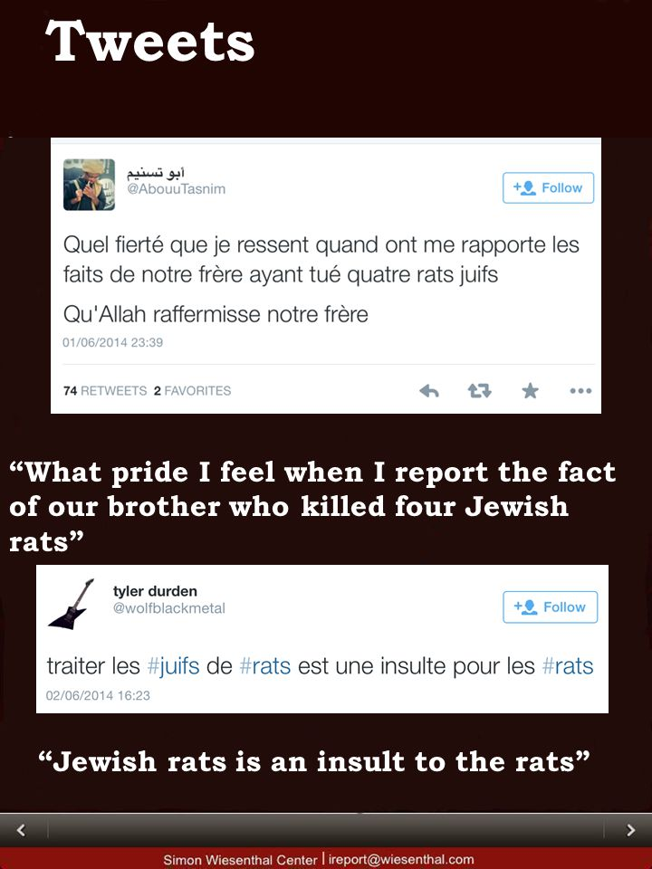 What pride I feel when I report the fact of our brother who killed four Jewish rats Tweets Jewish rats is an insult to the rats