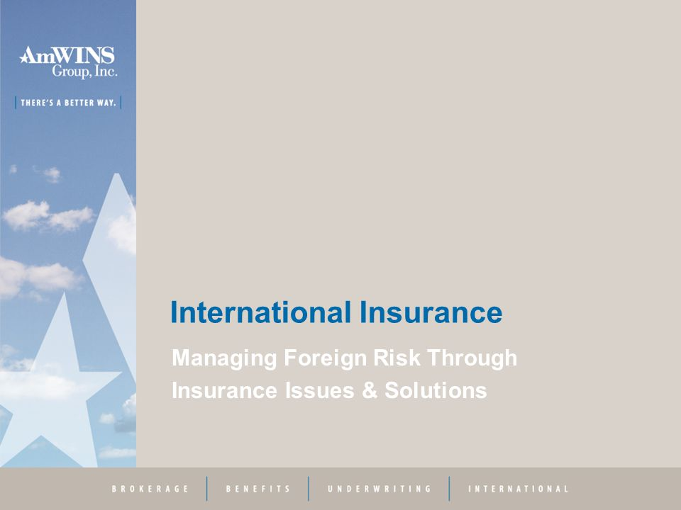 International Insurance Managing Foreign Risk Through Insurance Issues & Solutions