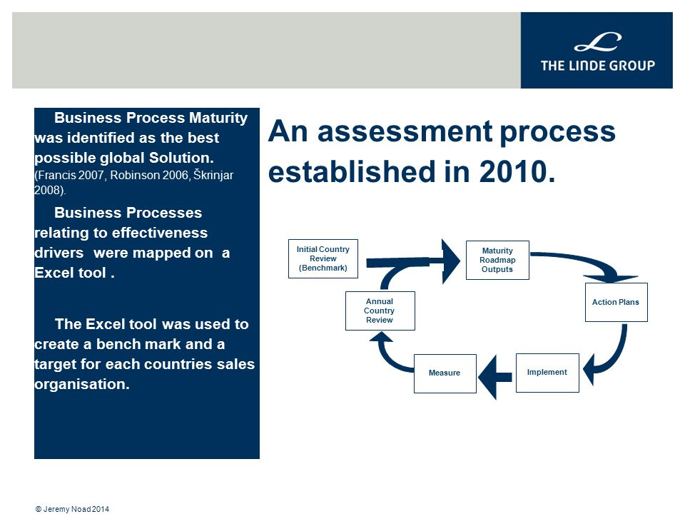 An assessment process established in 2010. Business Process Maturity was identified as the best possible global Solution. (Francis 2007, Robinson 2006