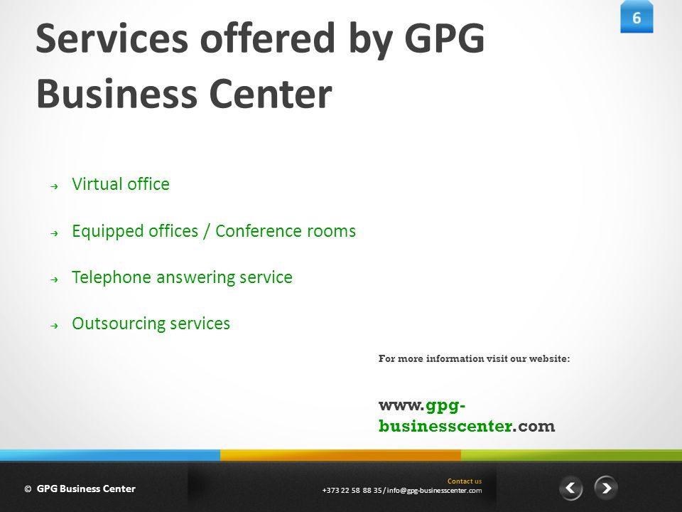 Contact us +373 22 58 88 35/info@gpg-businesscenter.com Our solution Packs © GPG Business Center