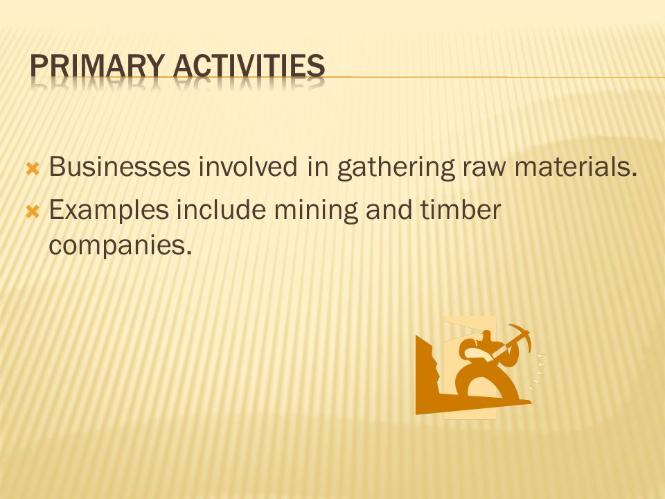  Businesses involved in gathering raw materials.  Examples include mining and timber companies.