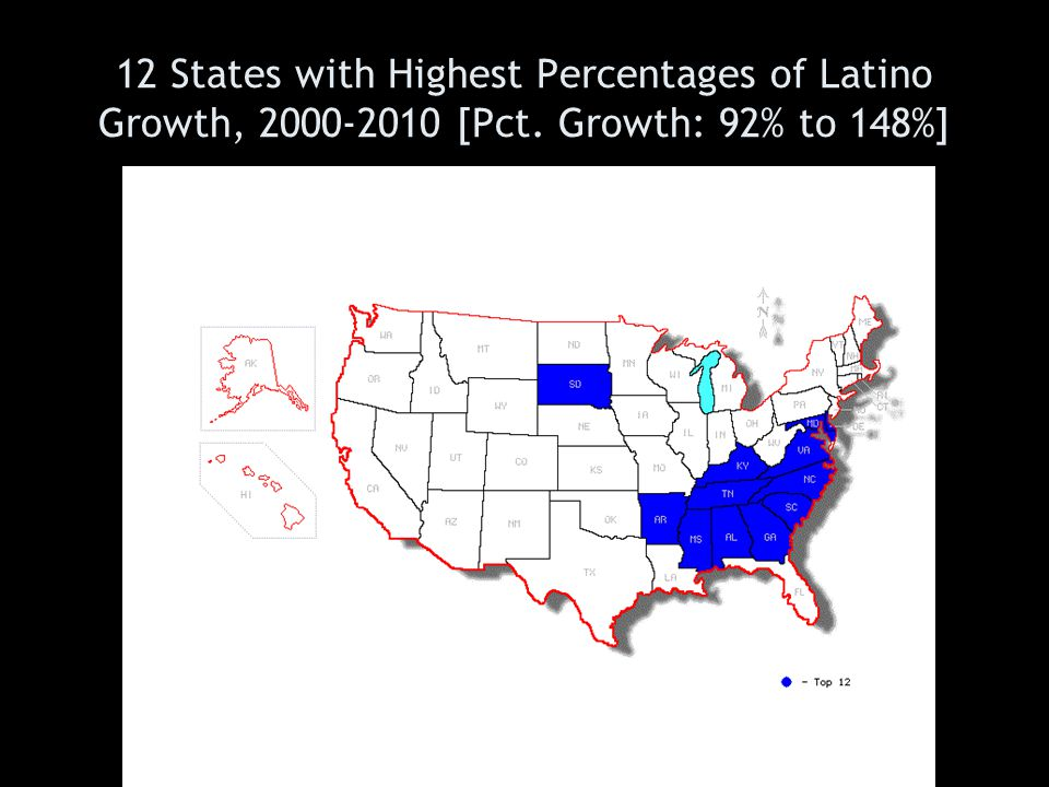 12 States with Highest Percentages of Latino Growth, 2000-2010 [Pct. Growth: 92% to 148%]