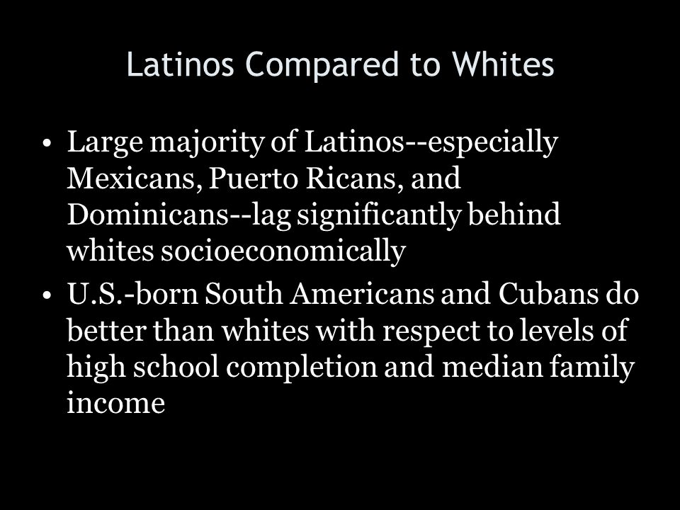Latinos Compared to Whites Large majority of Latinos--especially Mexicans, Puerto Ricans, and Dominicans--lag significantly behind whites socioeconomi