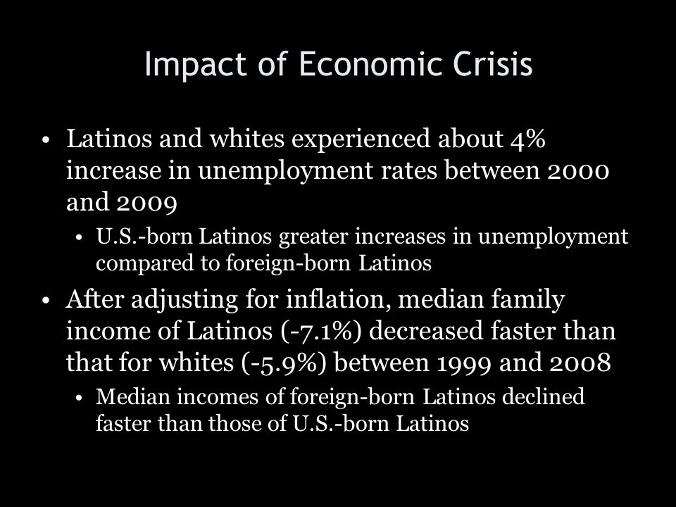 Impact of Economic Crisis Latinos and whites experienced about 4% increase in unemployment rates between 2000 and 2009 U.S.-born Latinos greater incre